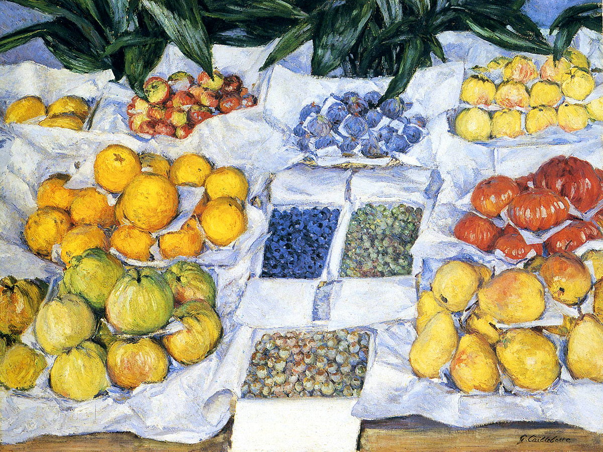 Gustave Cailleboteart - Fruit Displayed on a Stand 469