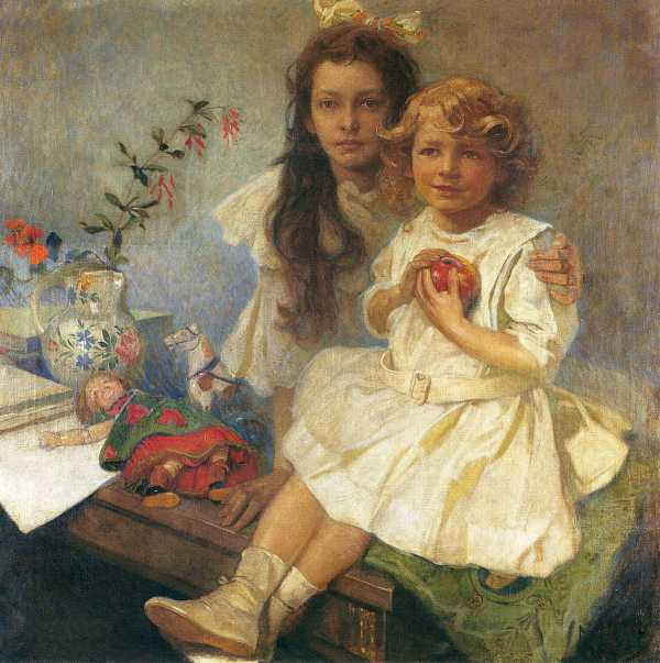 (1919) Jaroslava & Jiri by Alphonse Mucha (1860 - 1939)