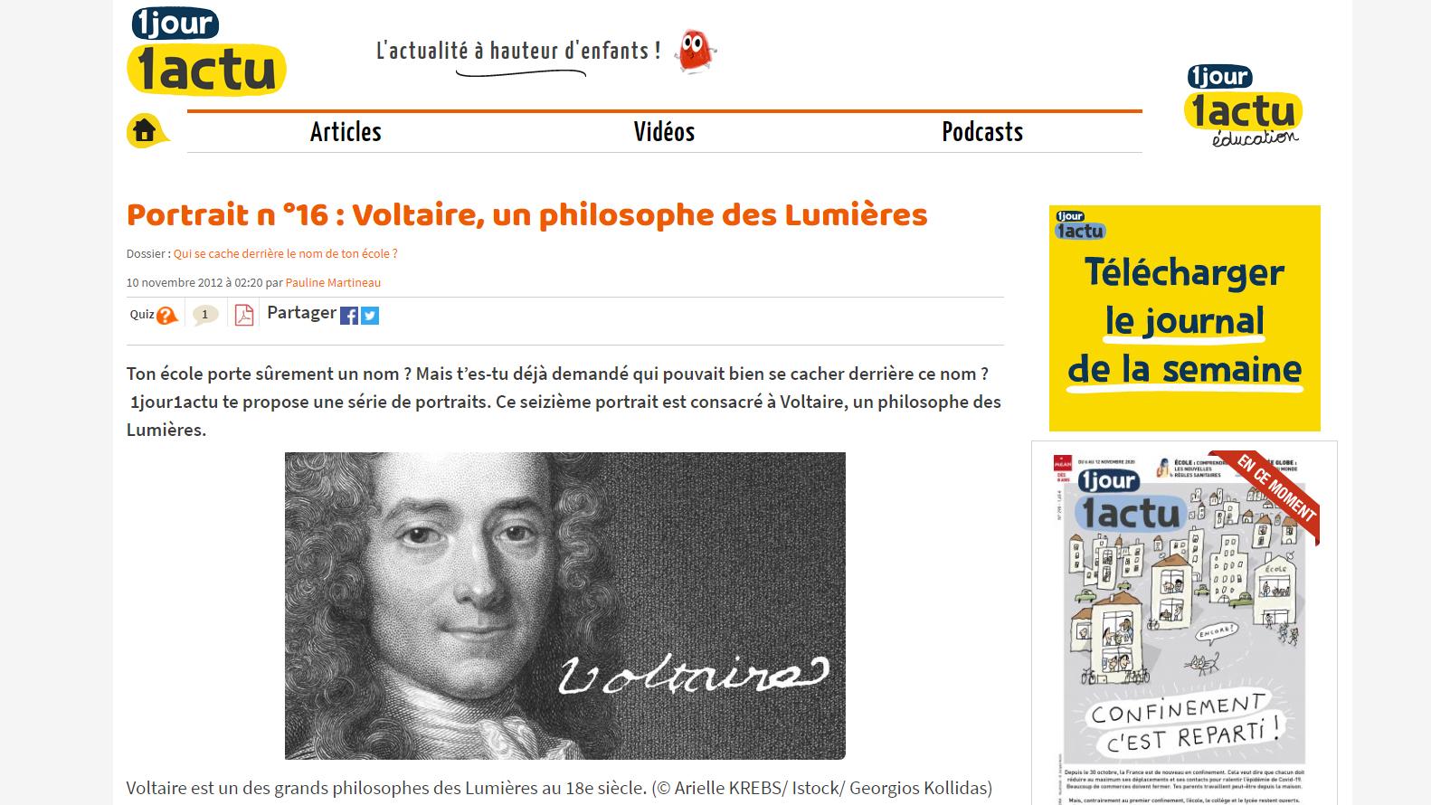 1jour1actu - Voltaire expliqué aux enfants - France Education - d'purb dpurb site web