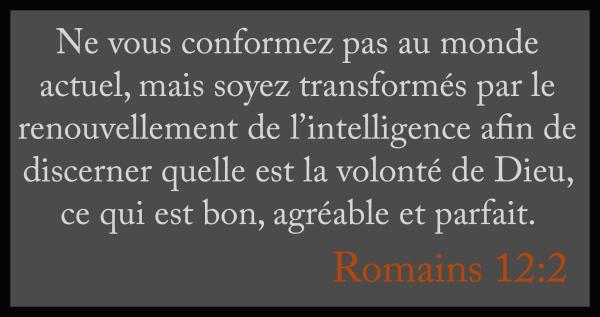 Ne vous conformez pas au monde actuel, soyez transformés par l'intelligence - Romains 12-2 d'purb dpurb site web