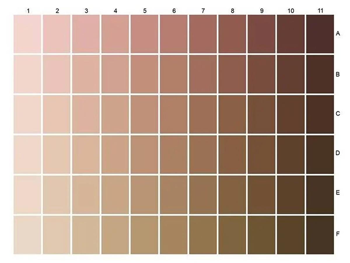 Charte des couleurs de la peau dpurb