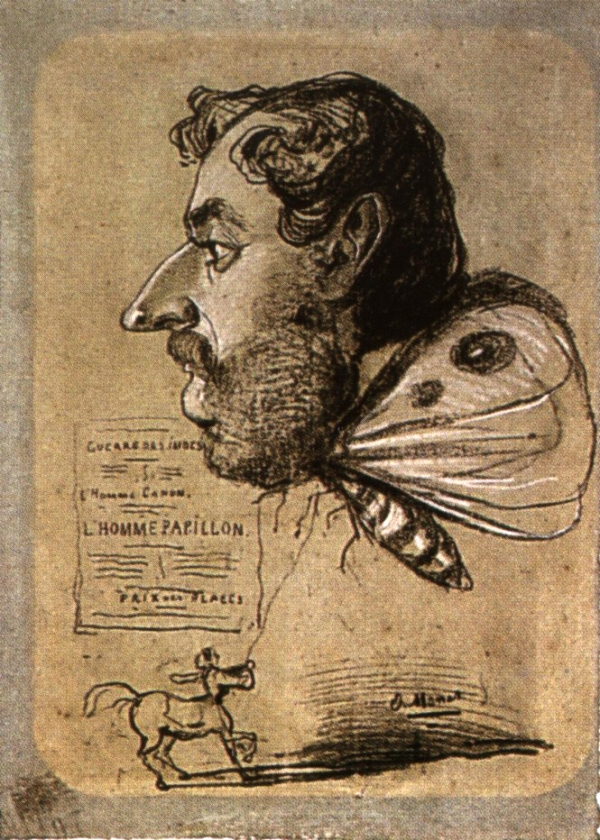 Lhomme Papillon (1858)Caricature of Jules Didier by Claude Monet (1840 - 1926)