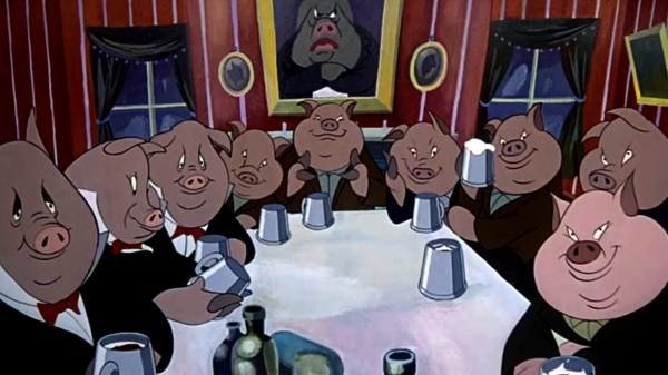 001 Pigs of Democracy at the Table - Animal Farm Animation (1954)