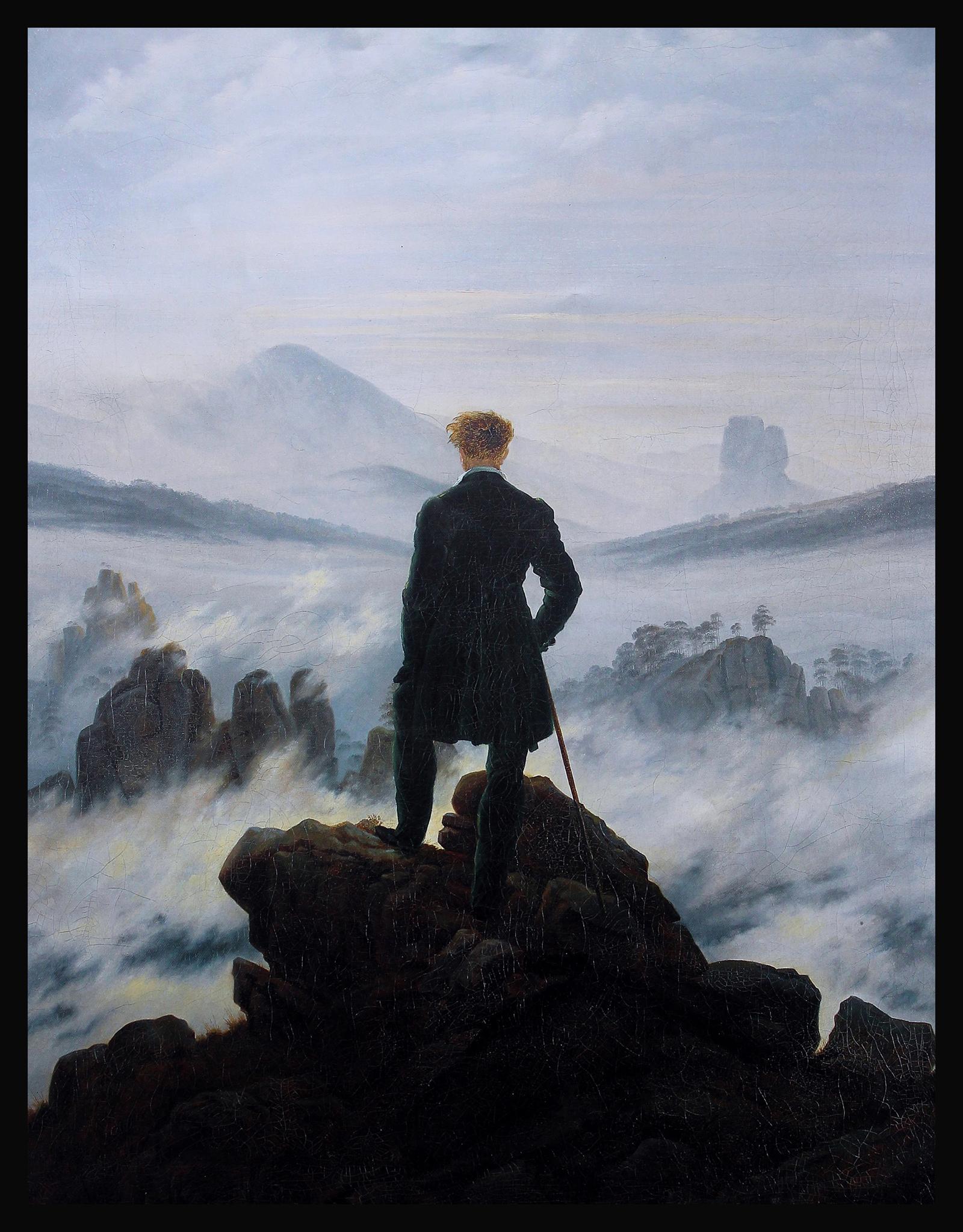 Le Voyageur contemplant une mer de nuages (Der Wanderer über dem Nebelmeer) Caspar David Friedrich d'purb dpurb site web