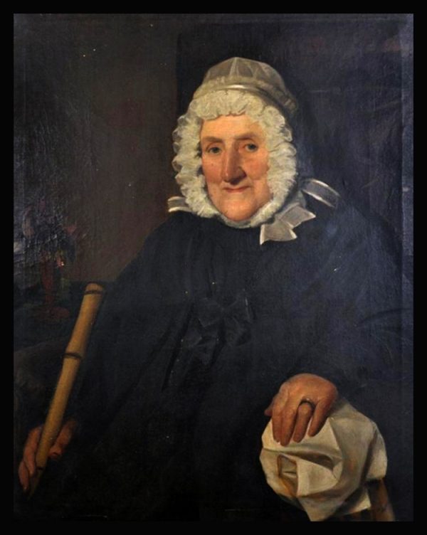 Arthur Helman Roach (19th Century) British. Portrait of an Old Woman holding a Stick wearing a White Bonnet