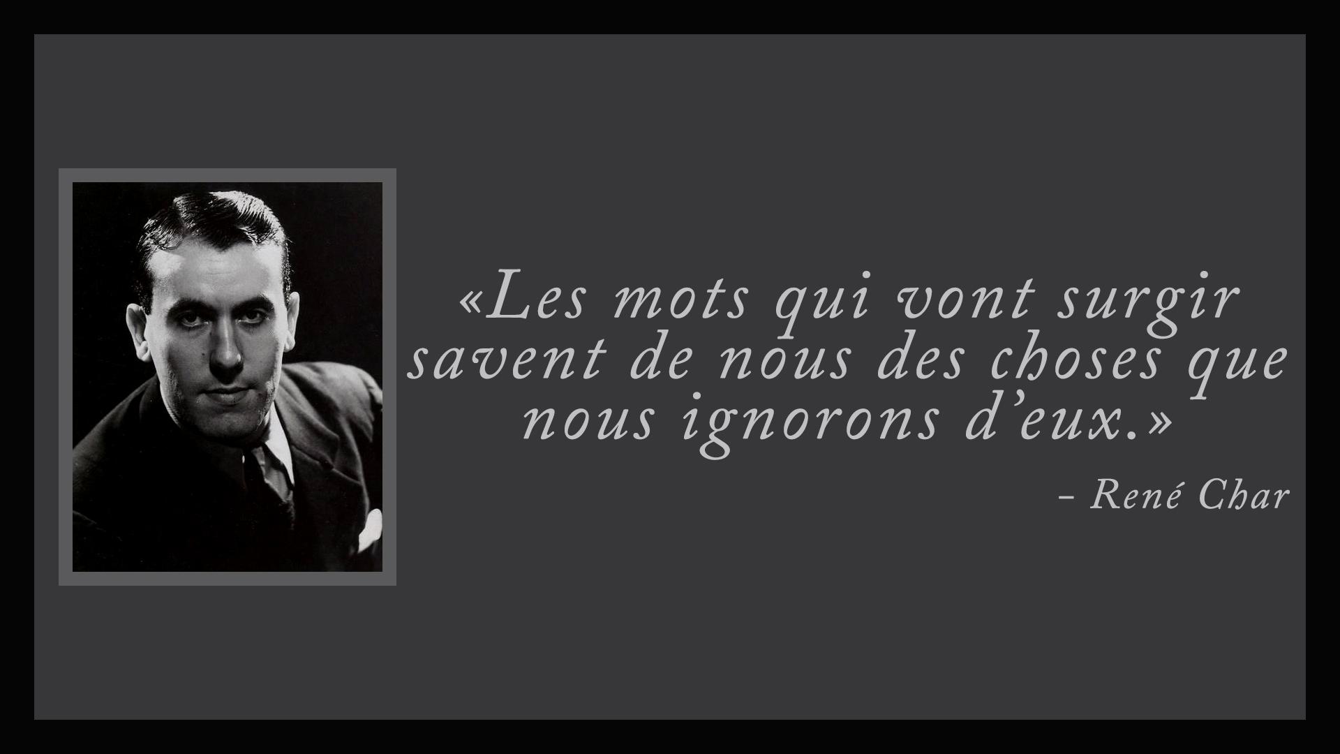 René Char - Les Mots qui vont Surgir dpurb d'purb.com