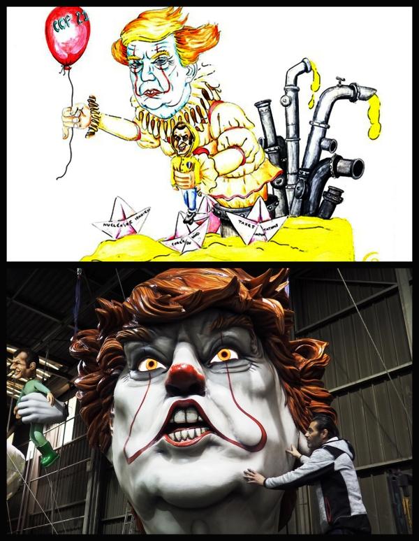 Trump le clown avec Macron la marionnette au carnaval de Nice