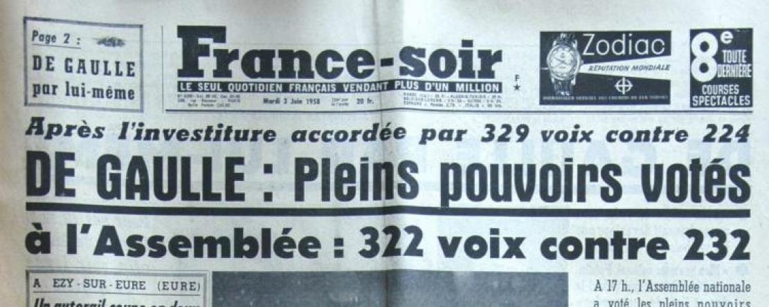 Juin 1958, l'Assemblée donne les pleins pouvoirs à De Gaulle