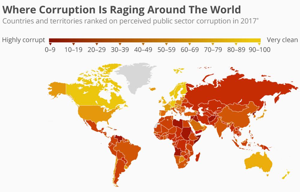 Là où la corruption fait rage dans le monde