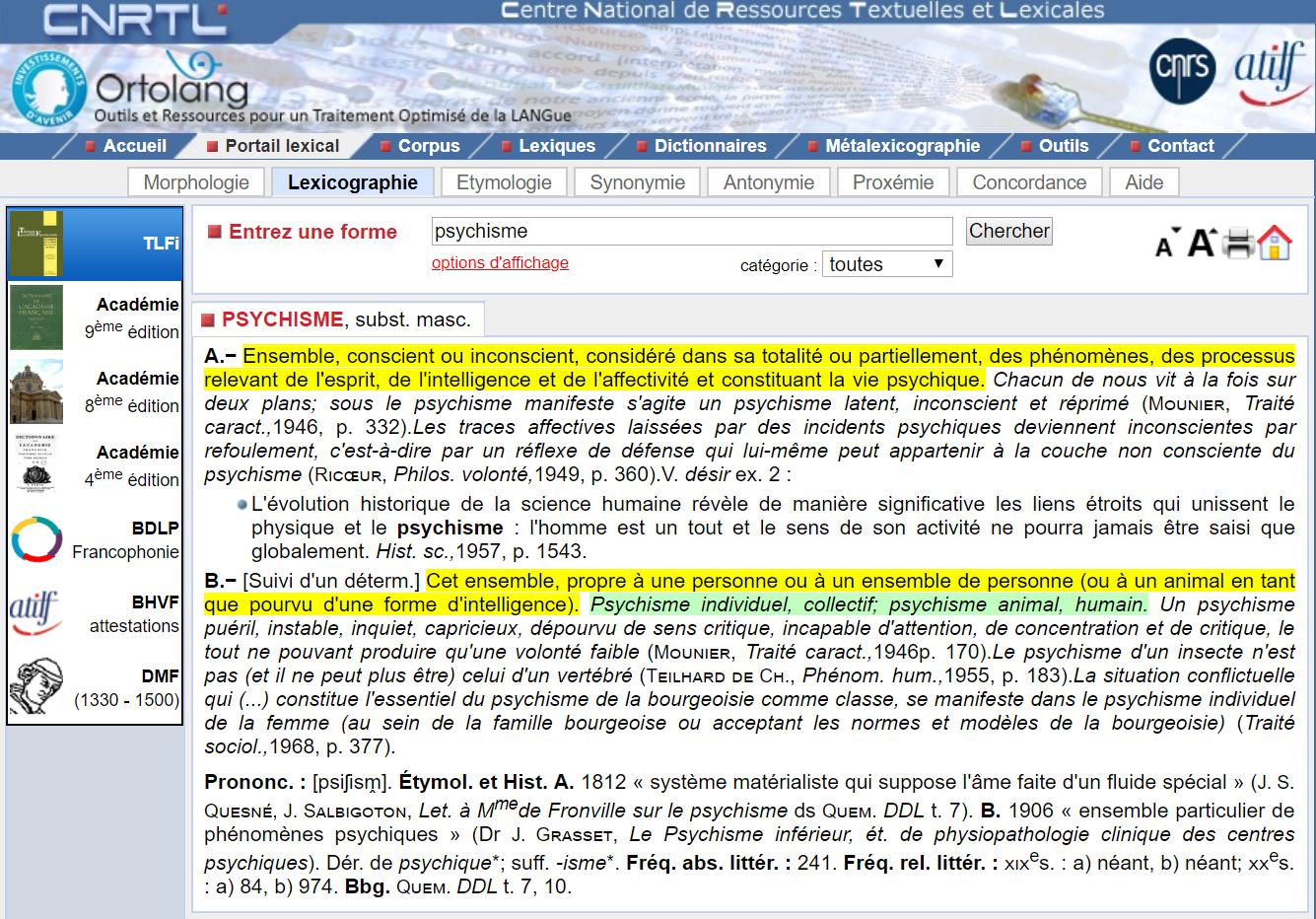 Psychisme Définition - Centre National de Resources Textuelles et Lexicales