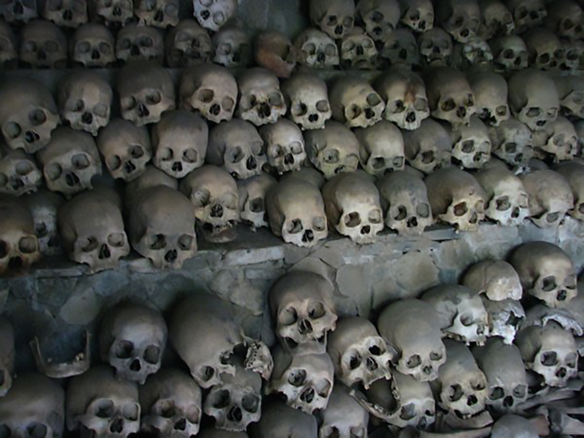Skulls in the Opdas Mass Burial Cave